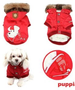 """Puppia Authentic Alpine Skiing Jacket with Fur Trimmed Hood in Bright Red in size Small (Neck 9"""", Chest 13"""",Back Length 7.5"""", pets weighing 4-7 Lbs.) (Recommended for mini dog breeds) - 2"""