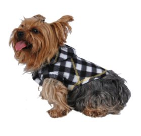 Anima Polyester Fleece Plaid Checked Hoodie Dog and Pet Jacket - 2