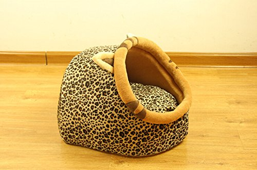Follow518 Cute Leopard Shape Teddy Chihuahua Cat Soft Small Bed Autumn Winter Warm Pet House - 3