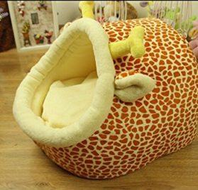 Follow518 Cute Giraffe Shape Teddy Chihuahua Cat Soft Small Bed Autumn Winter Warm Pet House - 3