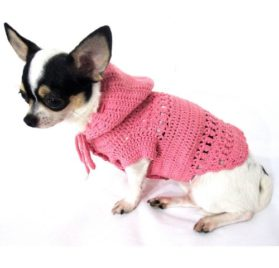 Girly Pet Hoodie Sweater Cotton Adorable Handmade Crocheted Myknitt Dk899 Free Shipping-1