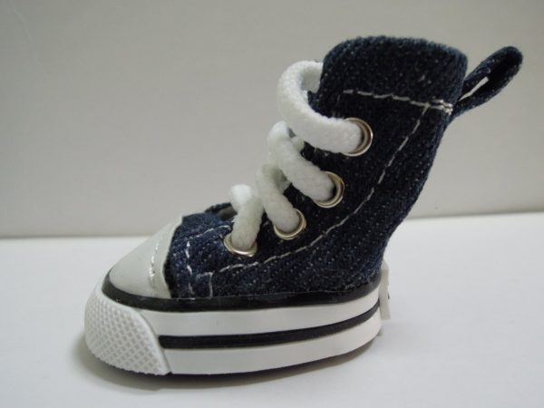"""Pet Favorites Cute Puppy Pet Dog Sporty Shoes Lace up Blue Canvas Dog Boots Nonslip Dog Booties Sneaker for Chihuahua Yorkie Small Doggies, Size S: 1.8"""" X 1.6"""", 4 Pcs in One Pack.-3"""