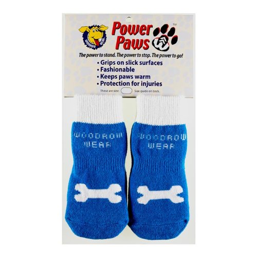 Power Paws, traction socks for dogs, Blue w/White Bone, XXS, fits up to 12 lbs.