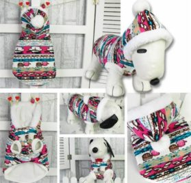Dog Gloves Snowman Pattern Clothes Pet Christmas Hooded Christmas Coat with Blue Headband and Usb Light - 3
