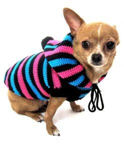 Cute Dog Hoodie Cotton Unisex Pet Clothing Stripes Black Blue Pink Handmade Crochet Puppy Clothes Chihuahua Sweater Dk886 Myknitt - Free Shipping-1