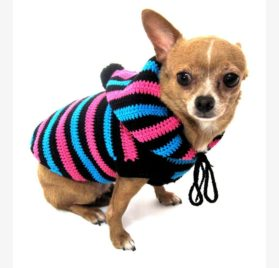 Cute Dog Hoodie Cotton Unisex Pet Clothing Stripes Black Blue Pink Handmade Crochet Puppy Clothes Chihuahua Sweater Dk886 Myknitt - Free Shipping-1