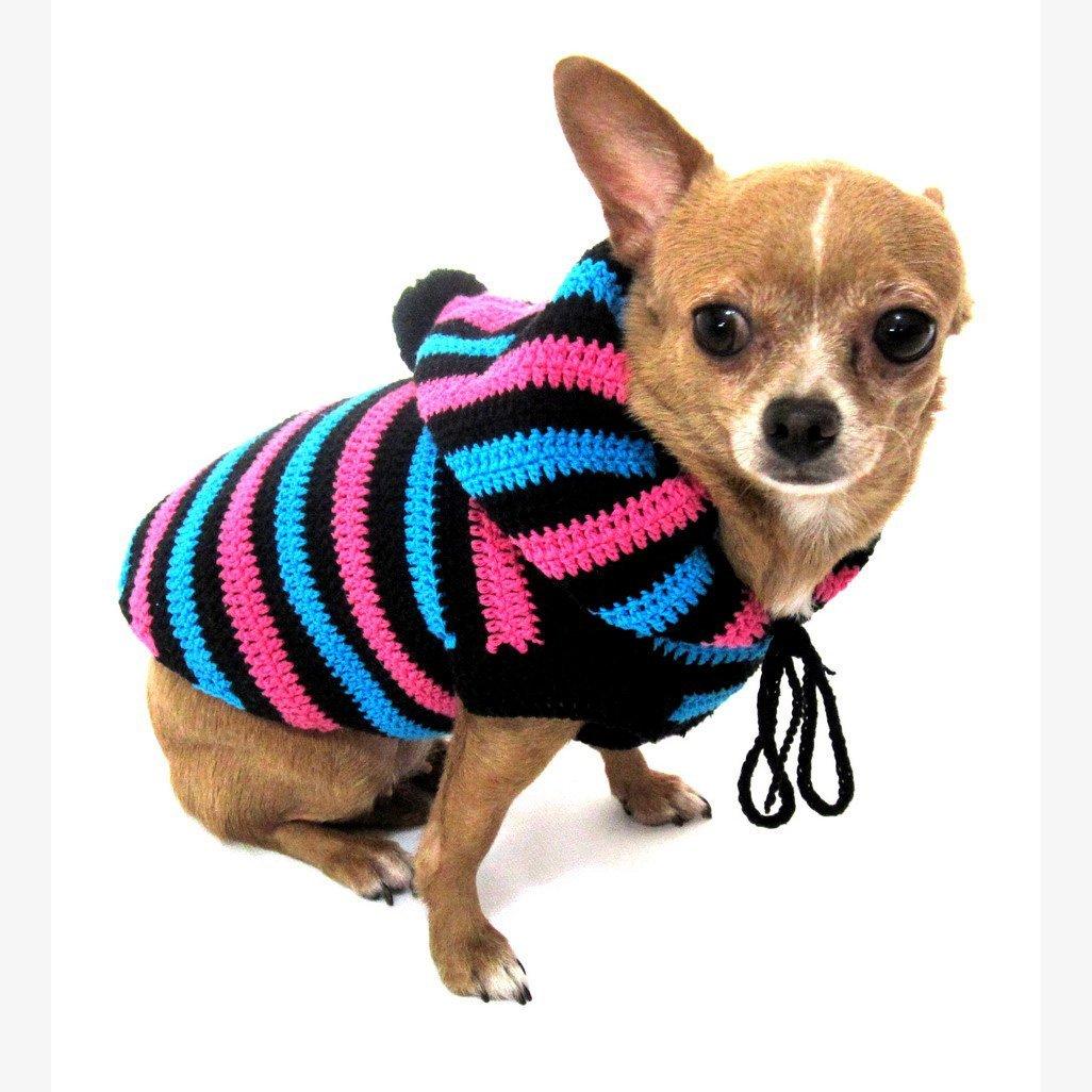 Cute Dog Hoodie Cotton Unisex Pet Clothing Stripes Black Blue Pink