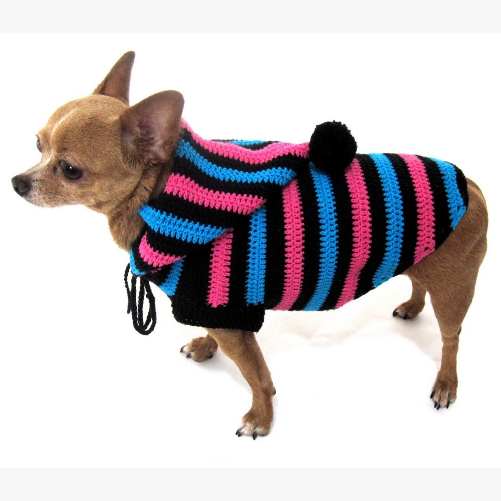Cute Dog Hoodie Cotton Unisex Pet Clothing Stripes Black Blue Pink