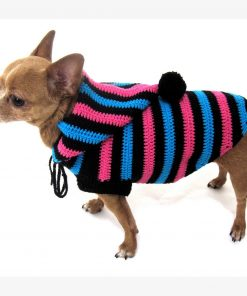 Cute Dog Hoodie Cotton Unisex Pet Clothing Stripes Black Blue Pink Handmade Crochet Puppy Clothes Chihuahua Sweater Dk886 Myknitt - Free Shipping-3