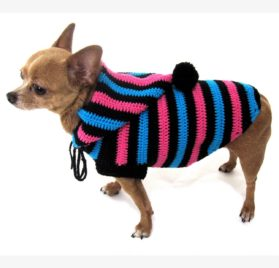 Cute Dog Hoodie Cotton Unisex Pet Clothing Stripes Black Blue Pink Handmade Crochet Puppy Clothes Chihuahua Sweater Dk886 Myknitt - Free Shipping-3