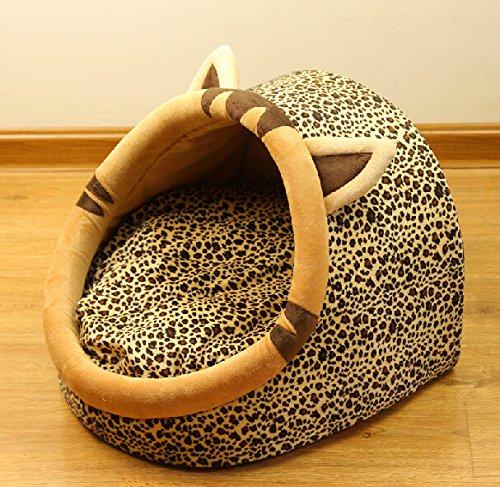 Follow518 Cute Leopard Shape Teddy Chihuahua Cat Soft Small Bed Autumn Winter Warm Pet House - 5