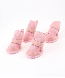 URBEST®Pink Nonslip Sole Velcro Booties Pug Dog Chihuahua Shoes Boots 2 Pair XXS-2