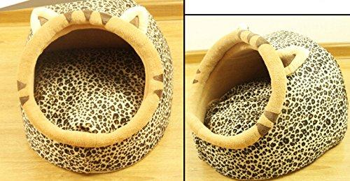 Follow518 Cute Leopard Shape Teddy Chihuahua Cat Soft Small Bed Autumn Winter Warm Pet House - 9
