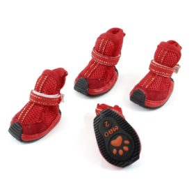 Walking Pet Dog Meshy Detachable Closure Shoes Booties XS 2 Pairs Red - 1