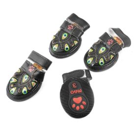 Peafowl Printed Detachable Closure Pet Dog Shoes XS 2 Pairs Black - 1