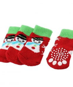 2 Pairs Paw Printed Nonskid Bottom Knitted Pet Dog Socks Red Green M - 1