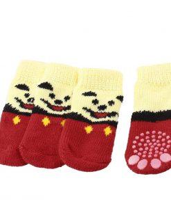 2 Pairs Paw Printed Nonslip Bottom Knitted Pet Dog Socks Yellow Red M - 1