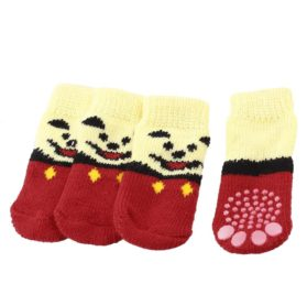 2 Pairs Paw Printed Nonslip Bottom Knitted Pet Dog Socks Yellow Red M - 1