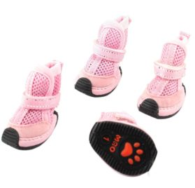 Pet Dog Mesh Style Hook Loop Fastener Boot Shoes XS 2 Pairs Pink - 1
