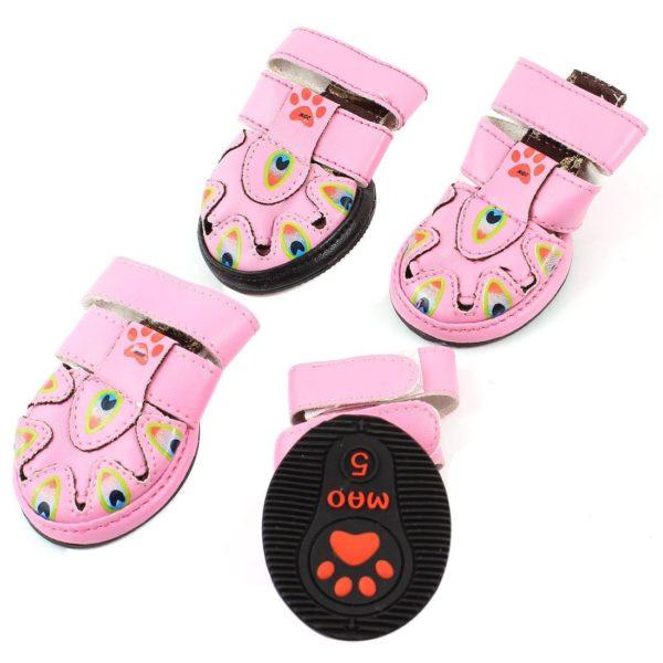 Detachable Closure Pet Dog Doggy Sandals Shoes XS Pink 2 Pairs