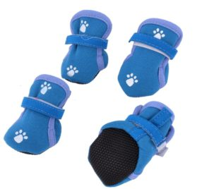 Paw Print Detachable Closure Dog Booties Shoes XXS 2 Pairs Teal Blue