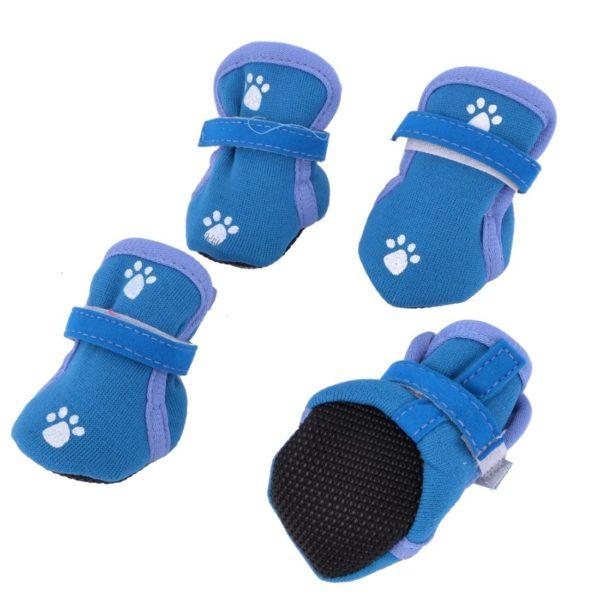Paw Print Detachable Closure Dog Booties Shoes XXS 2 Pairs Teal Blue