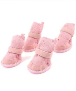 SODIAL(R) Pink Nonslip Sole Velcro Booties Pug Dog Chihuahua Shoes Boots 2 Pair XXS-1