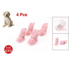 SODIAL(R) Pink Nonslip Sole Velcro Booties Pug Dog Chihuahua Shoes Boots 2 Pair XXS-2