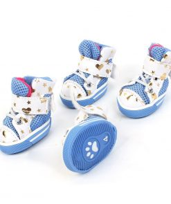 2 Pairs White Blue Heart Printed Antislip Sole Pet Dog Doggy Shoes XS