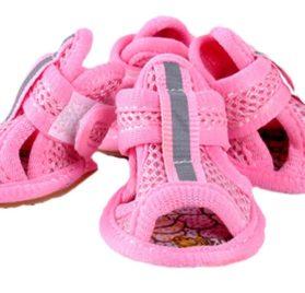 PoodleHouse Breathable Mesh Cloth Little Dog Sandal Shoes Puppy Pomeranian Pink - 1