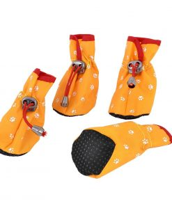 Paw Pattern Drawstring Closure Dog Shoes Boots XXS 2 Pairs Yellow