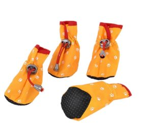 Paw Pattern Drawstring Closure Dog Shoes Boots XXS 2 Pairs Yellow
