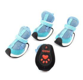Pet Dog Yorkie Meshy Hook Loop Fastener Shoes Booties S 2 Pairs Blue