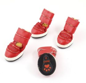Walking Run Pet Dog Yorkie Meshy Booties Shoes XXS Red 2 Pairs