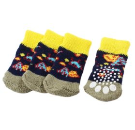 2 Pairs Tri Color Paw Pattern Nonskid Bottom Knitted Pet Dog Socks S