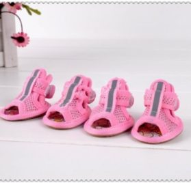 PoodleHouse Breathable Mesh Cloth Little Dog Sandal Shoes Puppy Pomeranian Pink - 3