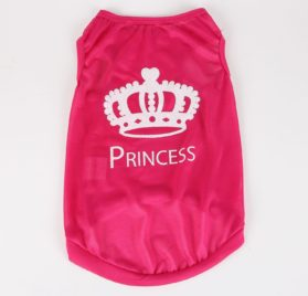Commoditier Crown Prince Summer Dog T-shirt Small Dog Clothes for Chihuahua Summer Puppy Clothes Dog Clothes for Girls in Red - 1