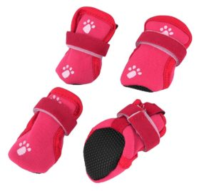 Paw Print Detachable Closure Dog Booties Shoes XS Red 2 Pairs