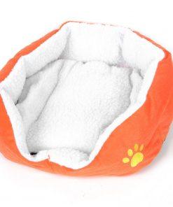 Dog Doggie Chihuahua Doghouse Kennel Doghole Mat Orange White 45cmx40cmx12cm - 1