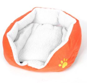 Dog Doggie Chihuahua Doghouse Kennel Doghole Mat Orange White 45cmx40cmx12cm - 1