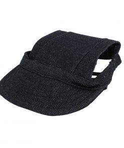 Elastic Chin Strap Pet Baseball Cap Visor Hat Dark Blue - 1