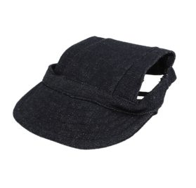 Elastic Chin Strap Pet Baseball Cap Visor Hat Dark Blue - 1