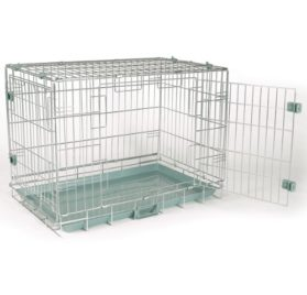ProSelect Steel Wire Smart Snap Dog Crate, X-Small, Silver Sage - 1