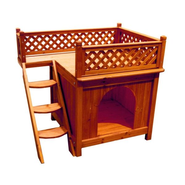 Dog House Merry Pet Wood Room With A View Cedar Deck Balcony Steps Cat Raised - 1