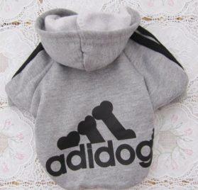 Angel Mall Adidog Hoodie Pet Clothes Dog Sweater Puppy Sweatshirt Warm Small Coat Christmas Gift 1-pc Set (Grey) -