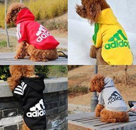 Angel Mall Adidog Hoodie Pet Clothes Dog Sweater Puppy Sweatshirt Warm Small Coat Christmas Gift 1-pc Set (Grey) - 2