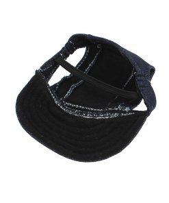 Elastic Chin Strap Pet Baseball Cap Visor Hat Dark Blue - 2