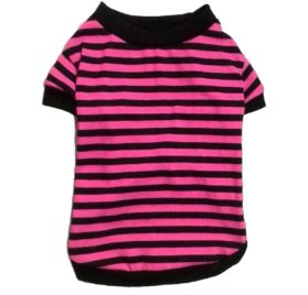 Binmer(TM)Dog Clothes Pet Dog Classic Wide Stripes T-shirt Doggy Clothes Cotton Shirts - 2