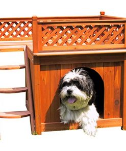 Dog House Merry Pet Wood Room With A View Cedar Deck Balcony Steps Cat Raised - 3