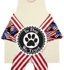 In Dog We Trust American Flag Bandana, X-Small, Black - 1